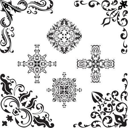 Corner elements set on white