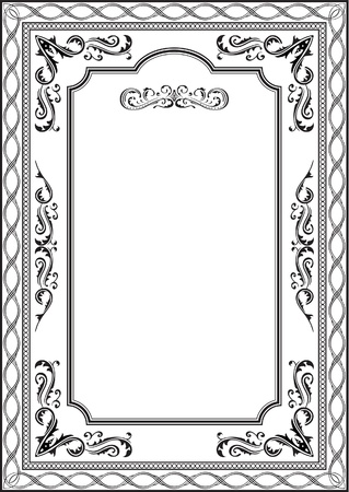 Exellent vintage frame on white Vector