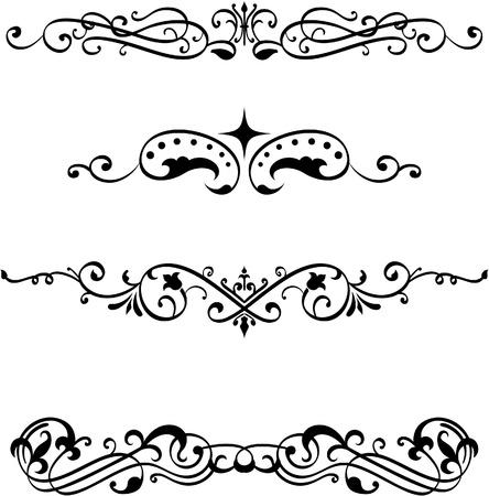 lineas decorativas: Elementos vintage dividir establecidas en blanco Vectores