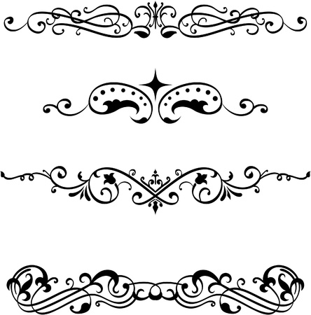 decorative lines: Vintage divide elements set on white