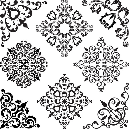 Arabesque set isolated on white Vector
