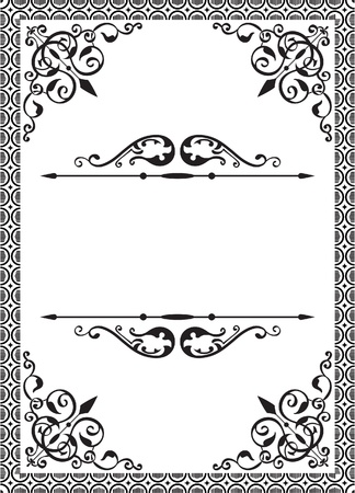 western pattern: Classic frame on white Illustration