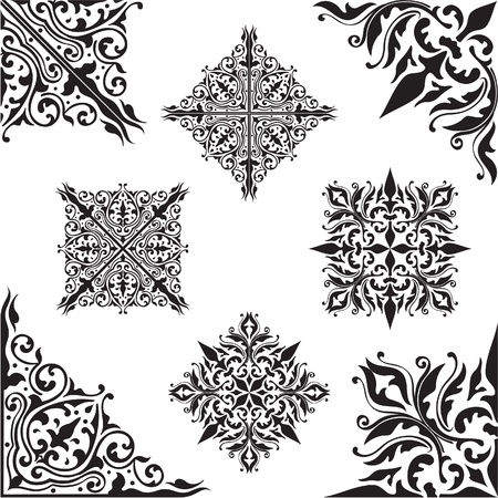 baroque pattern: The picture isolated on white