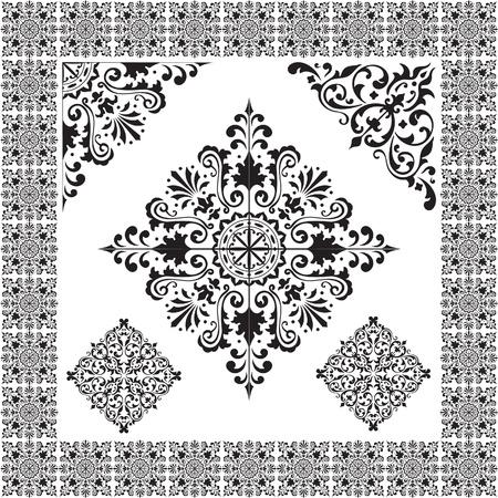 arabisch patroon: Het beeld op wit wordt geïsoleerd Stock Illustratie