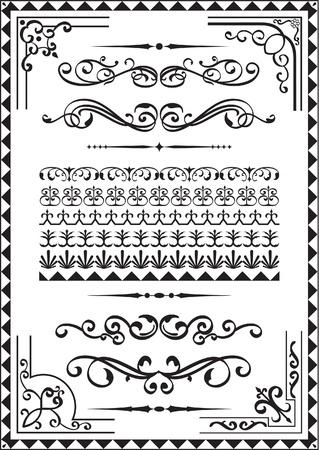 Elementi per qualsiasi bordo su bianco Vettoriali
