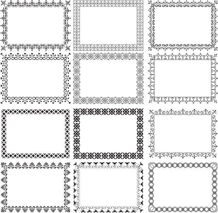 Set of borders on white Vector