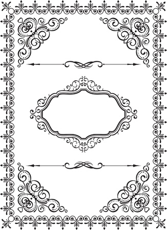 squiggle: swirl vintage frame on white
