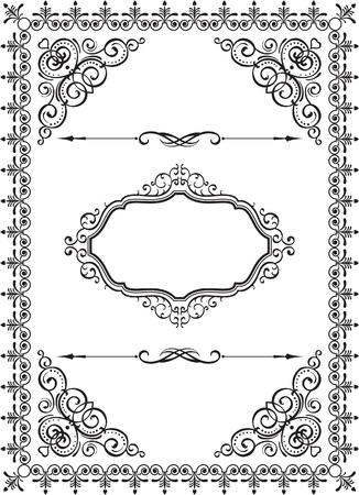 Wirbel Vintage-Rahmen auf weiß Standard-Bild - 19109639