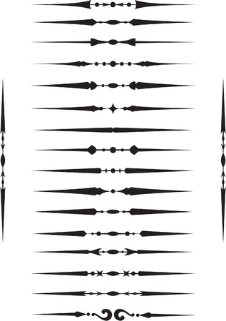 western pattern: Deviders elements set on white Illustration