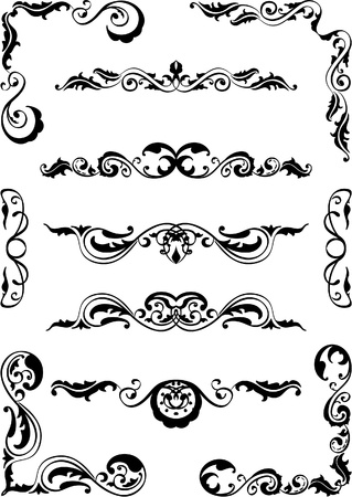 Set of classic scrolls elements on white Vector