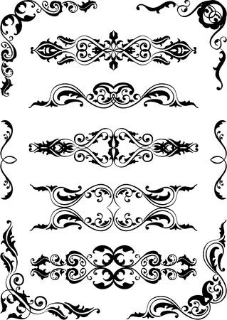 style: Set of scrolling elements isolated on white Illustration