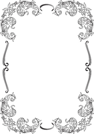 Acanthuse ornamente border isolated on white Vector