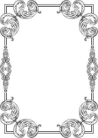 engraved image: Baroque border isolated on white Illustration