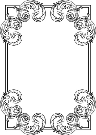 Baroque card isolated on white Vector