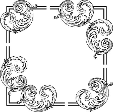 acanto: Elementos de esquina isolaed hoja en blanco