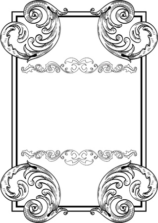 fleuron: Nice  baroque frame isoled on white