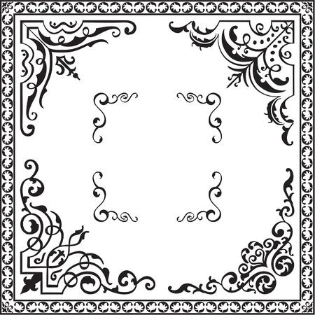 interweaving: Corner elements isolated on white
