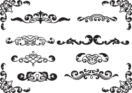 fleuron: Floral dividers set isolated on white Illustration