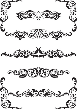 fleuron: Ornate set isolated on white Illustration
