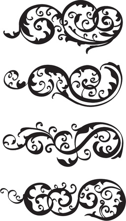 fleuron: Scroll set isolated on white Illustration