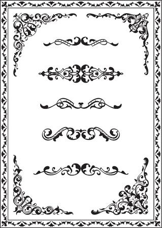 Victorian corner set isolated on white Illustration