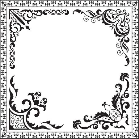 Baroque corner set isolated on white Illustration