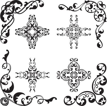 Ornate set of corner elements isolated on white Stock Vector - 19862472