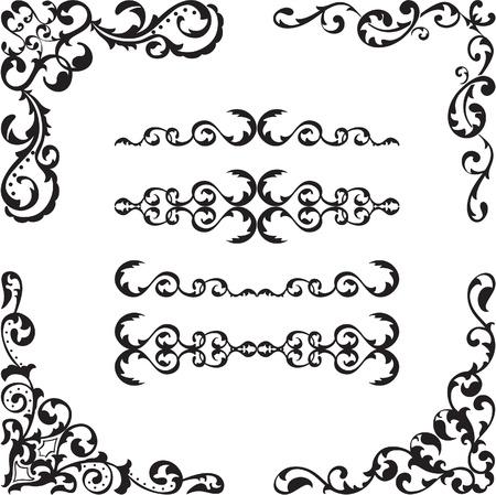 figuration: Baroque corner set is isolated on white
