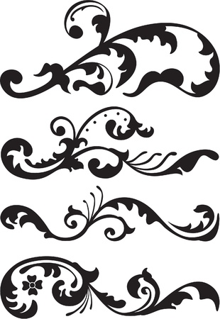 Set de línea de divisores victoriano está aislado en blanco Ilustración de vector