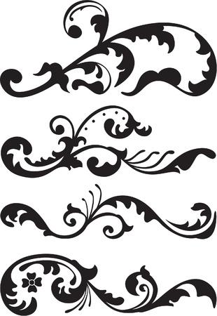 schriftrolle: Set von viktorianischen Teiler Linie ist isoliert auf weiß Illustration