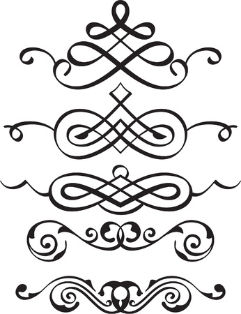 florid: Spiral divider elements is isolated on white Illustration
