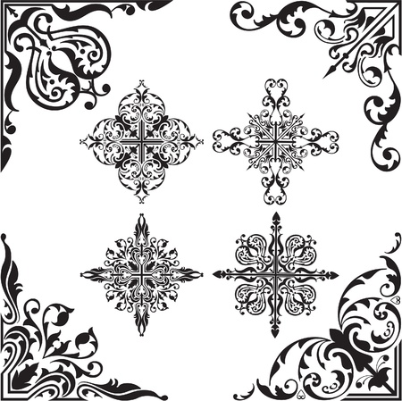 Baroque set of corners Vector