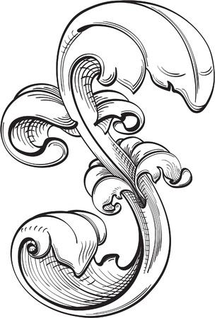 stile liberty: Perfetto foglia d'acanto � isolato su bianco