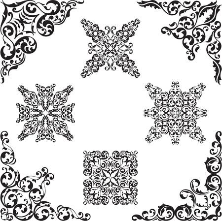 florid: Classic fine corner set isolated on white