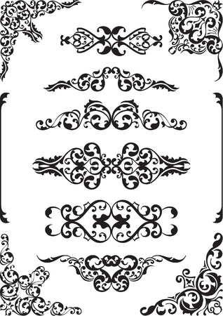 florid: Fine vintage design elements isolated on white