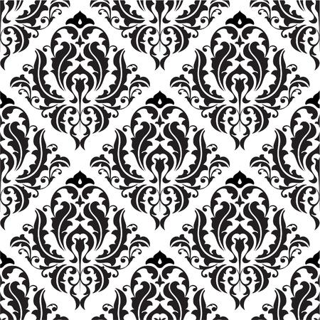 白で隔離のシームレスなビクトリア調パターン