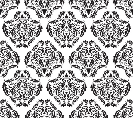 Seamless baroque pattern on white Illustration