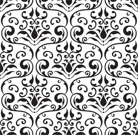 figuration: Seamless baroque tracery on white