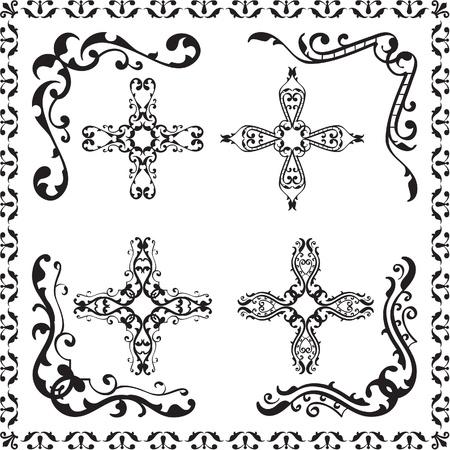 florid: Design elements set isolated on white