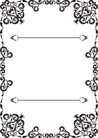 Floral vintage frame isolated on white