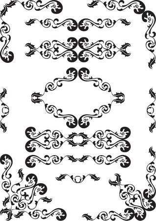 Baroque design set is isolated on white Stock Photo