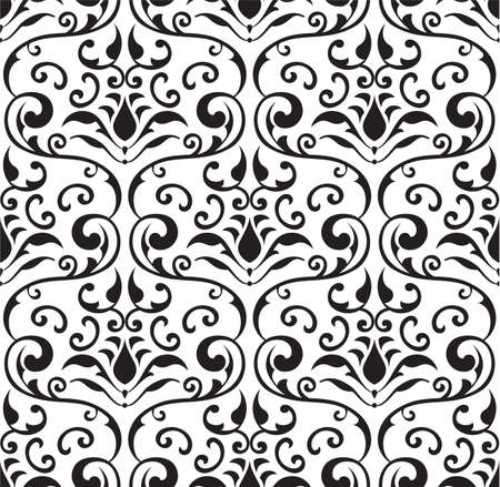 Seamless baroque tracery on white