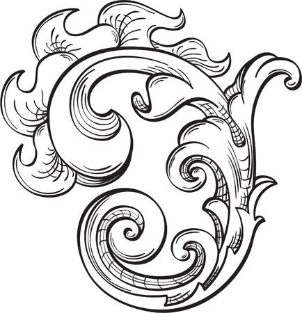 acanto: Acanthus Swirll en blanco Vectores