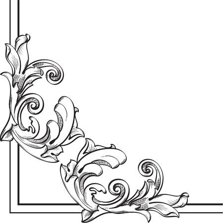Corner Element for Border on white Illustration