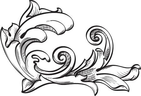 Sierlijke blad op wit Stock Illustratie