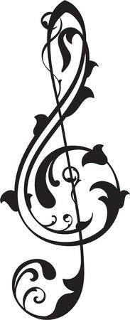 interweaving: Chiave di violino su bianco