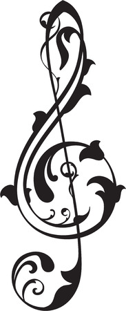 Treble clef on white