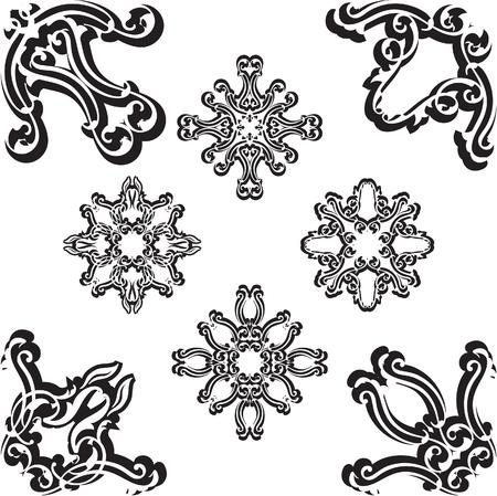florid: Corner super set on white Illustration