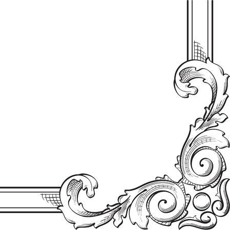 Baroque corner is on white Vector