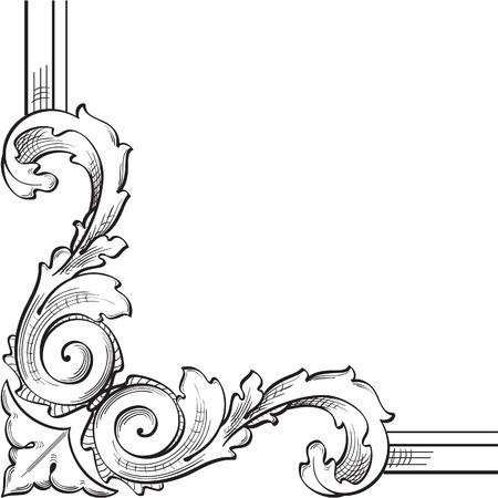 Baroque corner element is on white Vector
